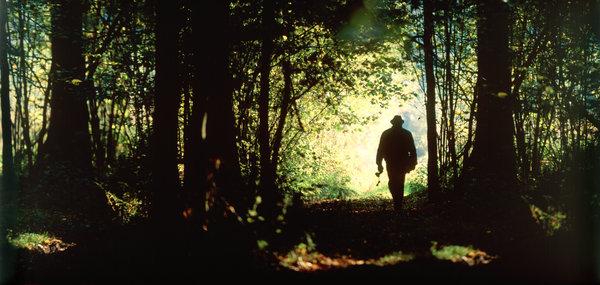 Människa vandrar.