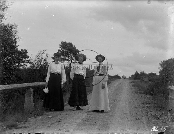 1905 1907. tre kvinnor i blus och långar kjolar på historisk bildbyrå  mustang med. 71bca421b87fd