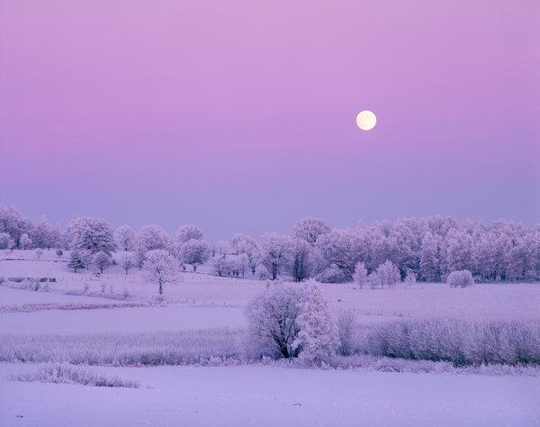 Fullmåne över landskapet.