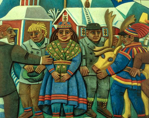 Målning av samer i Jukkasjärvi kyrka.