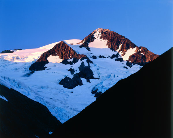 Landskap vid Portage glaciären.