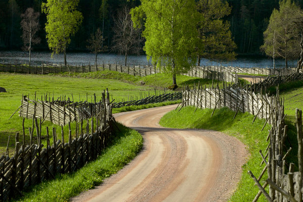 Grusväg i landskapet.