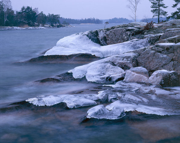 Isformationer på klippor.