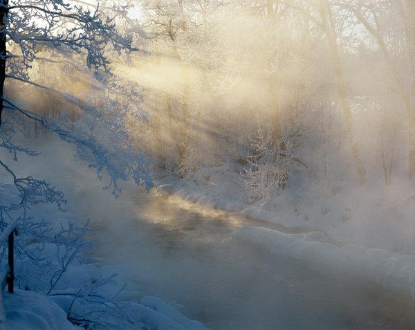 Solstrålar vid vattendrag.