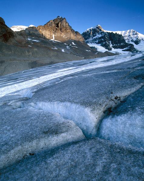 Landskap vid Athabasca glaciären.