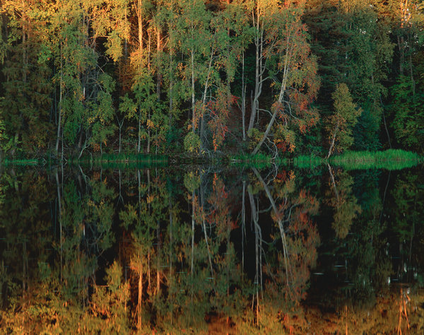 Vattenspeglingar i Dalälven.