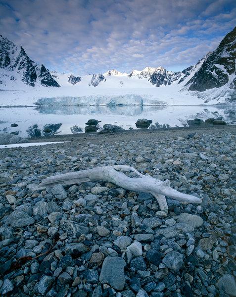 Glaciär i landskapet.