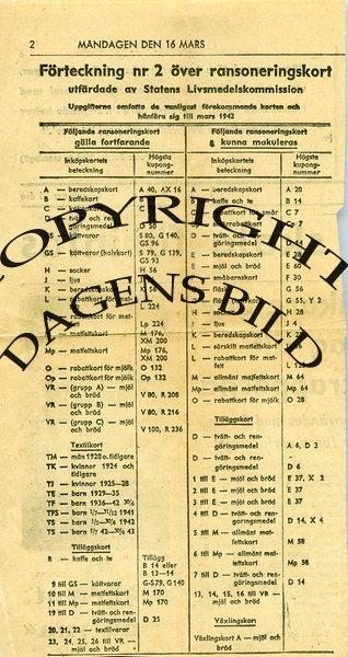 Förteckning nr 2 över Ransoneringskort 1942