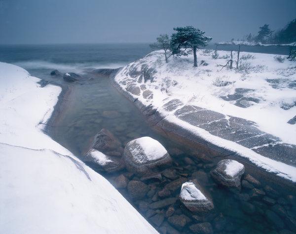 Snöstorm vid Vättern.